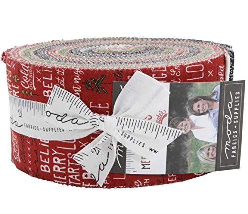 Fabric Christmas Merry (Merry Starts Here Jelly Roll 40 2.5-inch Strips by Sweetwater for Moda Fabrics)
