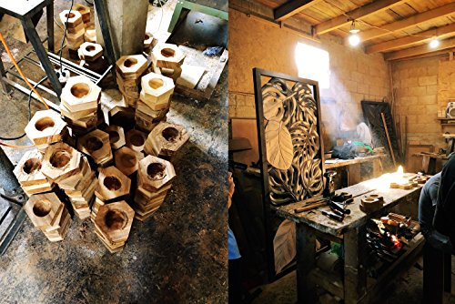 Wooden Cigar Ashtrays– The Mayan Line- 4 Styles to Choose From- Handmade Carved Wood Design made in Central America by Local Artisan Craftsman- Great Cigar Accessories Gift for Men- Round