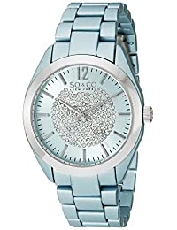 SO&CO New York Women's 5096A.1 SoHo Quartz Crystal Dial Analog Display Link Bracelet Watch, blue