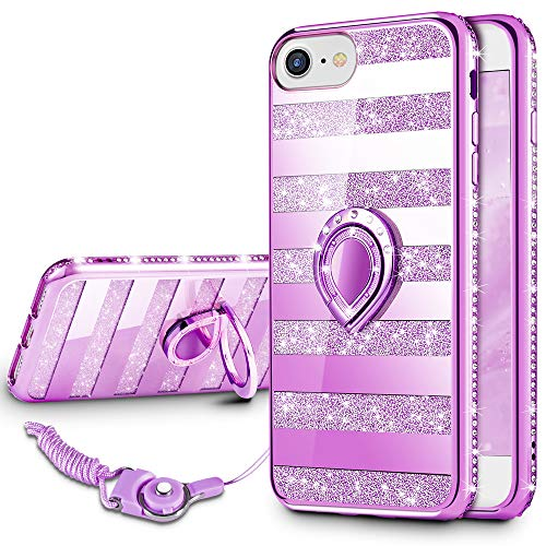 VEGO Case Compatible with Apple iPhone 7 iPhone 8 iPhone 6S,Glitter Sparkle Bling Rhinestone Fancy Cute Case with Ring Holder Kickstand for Girls Women for iPhone 7/8/6S(Stripe ()