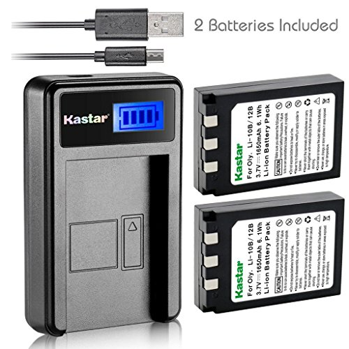 Kastar Battery (X2) & LCD Slim USB Charger for Olympus LI-10B, LI-12B and Olympus Stylus 300, 400, 500, 600, 800, C-50, 60, 70, 470, 760, 770, 5000, Camedia Series, Sanyo Xacti Series Camera