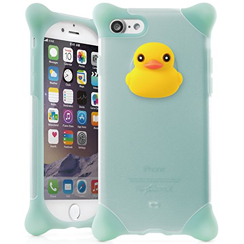 Bone Collection iPhone 8 iPhone 7 Case, Drop Protection Dual Layer Hybrid Bumper with Screen Protector Non-Slip Silicone Cute Animal Design Girls Women - (Kind Female Duck)