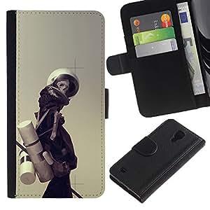 NEECELL GIFT forCITY // Billetera de cuero Caso Cubierta de protección Carcasa / Leather Wallet Case for Samsung Galaxy S4 IV I9500 // Astronauta Esqueleto
