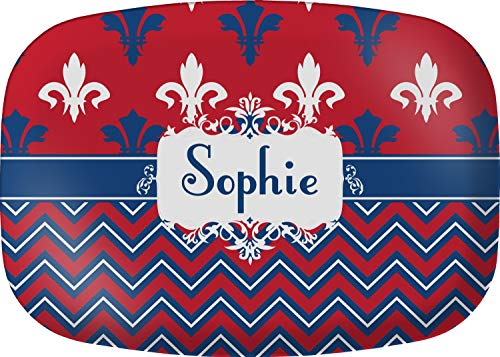 Personalized Melamine Platter - Patriotic Fleur de Lis Melamine Platter (Personalized)