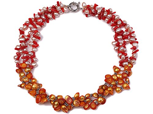 JYX Pearl Necklace Three-Strand 7x9mm Freshwater Pearl Necklace with Red Coral Beads for Women 19.5