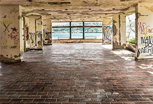 Leyiyi 7x5ft Abandoned Town House Backdrop Italian Seaside Village Room Interior French Window Rustic Buildinbg Grunge Graffiti Wall Photography Backgroud Adults Photo Portrait Vinyl Studio Prop
