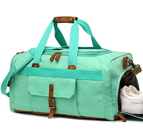 Weekender Overnight Duffel Bag with Shoes Compartment for Women Men Canvas Weekend Travel Tote Carry On -