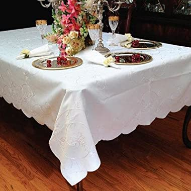 Dublin Embroidered Design Tablecloth White 60  by 90  Oblong / Rectangle