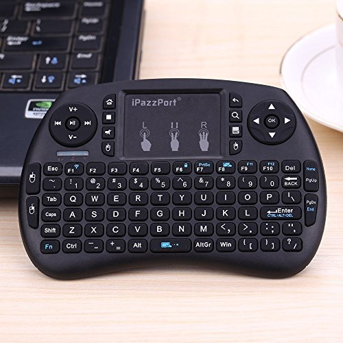 iPazzPort Mini Wireless Keyboard with Touchpad for PC/Android TV Box/PS3 and HTPC, 2.4 Ghz, Black