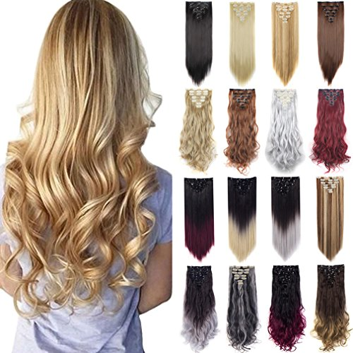 FIRSTLIKE 170g 23-24 Inch Double Weft Thick Clip in Hair Extensions Full Wigs Dark Black (Black Hair Extensions 23)