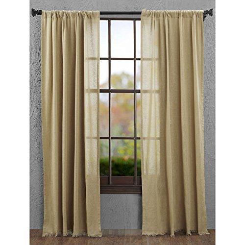 VHC Brands Primitive Farmhouse Window Curtains - Tobacco