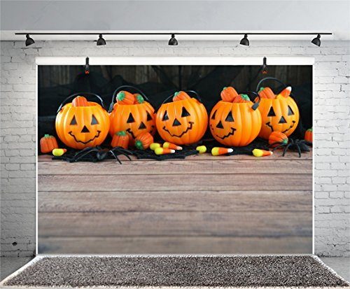 Leyiyi 5x3ft Photography Background Happy Halloween Party Backdrop Vintage Wooden Cabbin Cute Pumpkin Lanterns Corn Kernels Spiders Horro Costume Carnival Candy Photo Portrait Vinyl Studio Video Prop]()