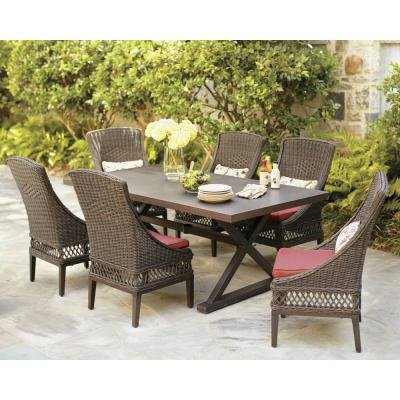 Hampton Bay Woodbury 7 Piece Patio Dining Set With Dragon Fruit Cushions,  Seats 6