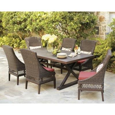 Who Makes Hampton Bay Patio Furniture.Amazon Com Hampton Bay Woodbury 7 Piece Patio Dining Set With
