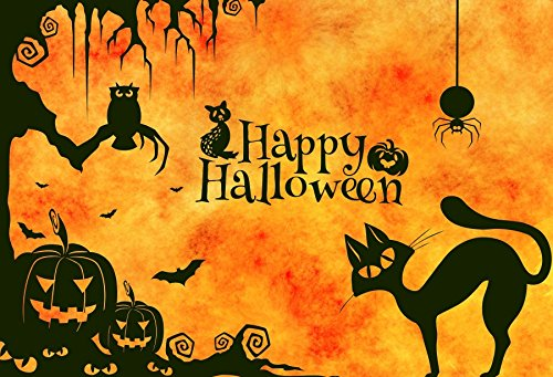Yeele 5x3ft Halloween Backdrop Black Cat Grimace Pumpkins Owl Bat Spider Party Decor Photography Background For Pictures Kids Children Portrait Photo Booth Shooting Vinyl Photocall Studio Props
