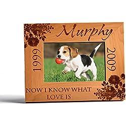 Personalized Pet Memorial Alder Wood Frame Laser Engraved Urns Custom Dog or Cat 5x7 Horizontal