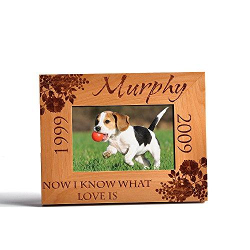 - Personalized Pet Memorial Alder Wood Frame Laser Engraved Urns Custom Dog or Cat 4x6 Horizontal