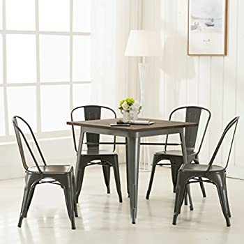 amazon com modern vintage metal stackable dining chairs with backs