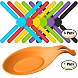 6 Pack Foldable Non-slip Silicone Trivets, SourceTon Expandable Collapsible Cross Design Silicone Trivets in 6 Cute Colors, Free Bonus Spoon Rest / Balloon Whisk Rest