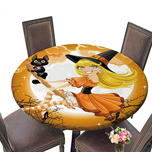PINAFORE Round Tablecloths Beautiful Witch and her Black cat Familiar Flying on a b Stick on Halloween Sky Dinner, Parties 50