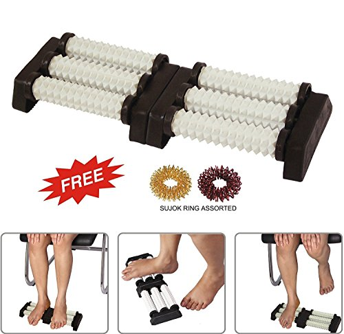 Acupressure n Massager SPIKED Double Foot Roller for Stress Relief, Boost Immunity With SuJok Rings