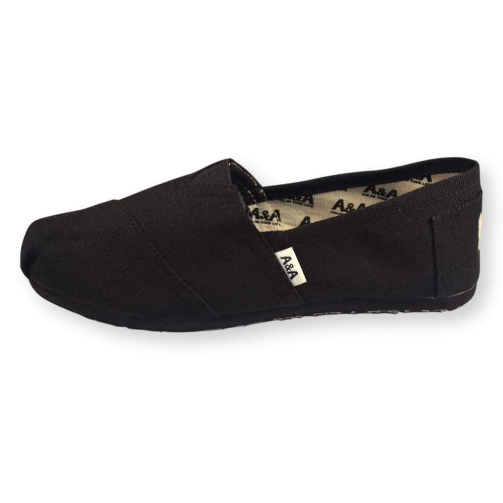 A&A Vegan Classic Slip-on Canvas Alpargatas, Casual Shoes for Women & Men (Unisex) (6 US Women / 4.5 US Men, Black on Black) by A&A (Image #2)