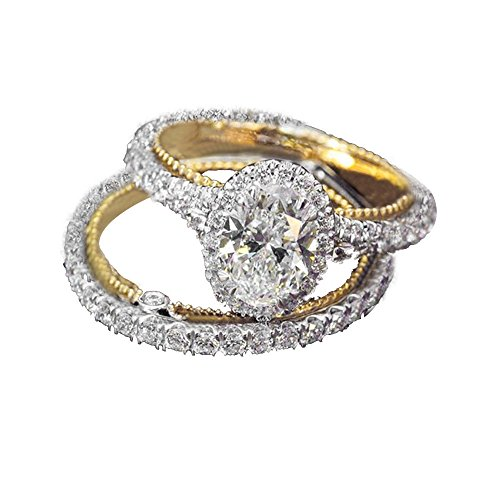 Voberry 2 PCS Women Crystal Diamonds Cubic Zirconia Engagement Ring Bridal Wedding Promise Her Rings Fashion Jewelry for Girlfriend, Birthday Anniversary Valentine's Day Gifts for Her Size 6-10 (8)