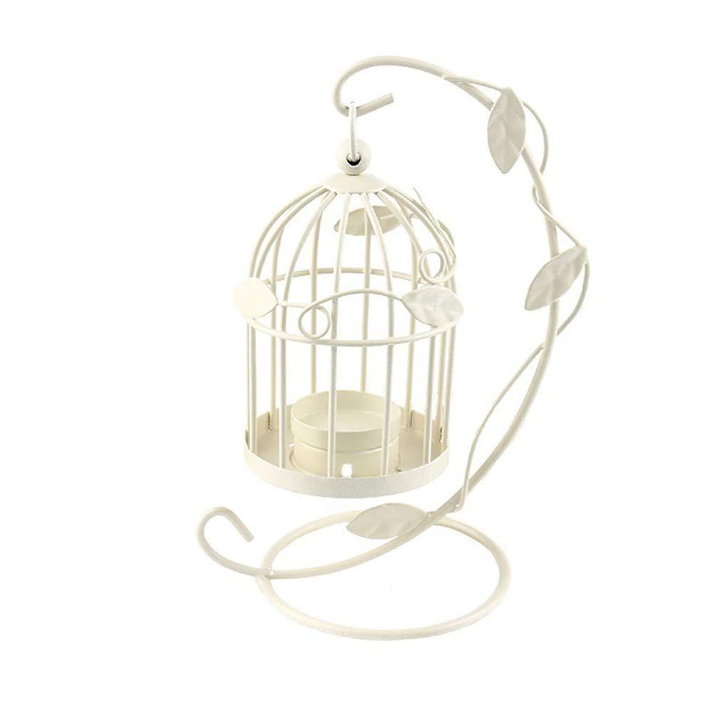 LAAT Candle Holder Birdcage-Shape Metal Tealight Lanterns LED Wedding ChristmasTable Home Decoration