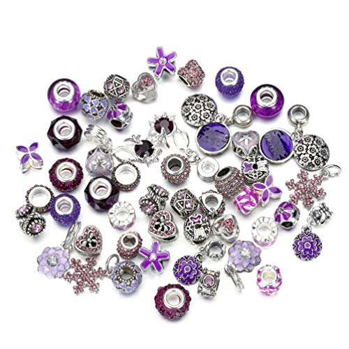 50 Piece Purple Jewelry Making Charms Assorted Lampwork Murano Glass Beads Rhinestone Metal European Beads Crystal Bead Charms Fit Snake Style Charm Bracelet (Purple) - Murano Glass Focal Bead