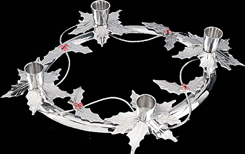 KensingtonRow Home Collection Candle Holders - Holly Berry Candle Ring - Nickel Finish ()