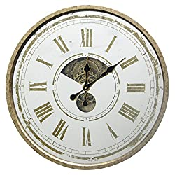 ArtMaison.ca 24 D Decorative Clock with Mirrored Face, Ready to Hang, Large, Gold