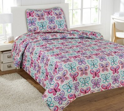 GorgeousHome (#22) BUTTERFLY BLUE 2PC Twin Printed Quilt Coverlet Bedspread Pillow Case Bed Bedding Set For Girls