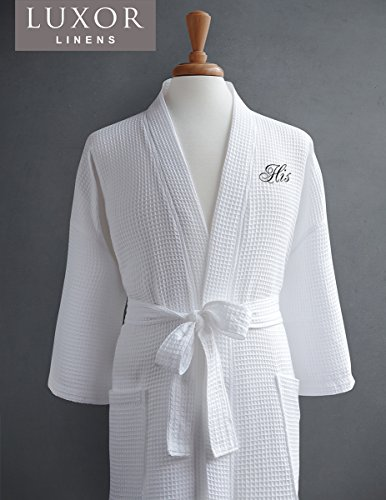 Luxor Linens Egyptian Cotton His & Hers Waffle Robes - Perfect Engagement Gifts! - His