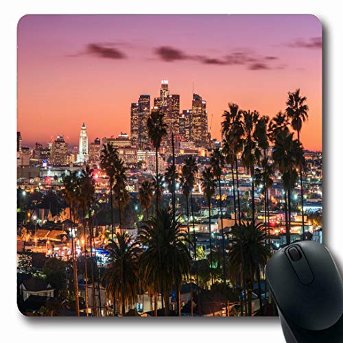 Ahawoso Mousepads for Computers Skyscraper Blue Hollywood Sunset Los Angeles Downtown Red Skyline Orange Night City Palm Cityscape Oblong Shape 7.9 x 9.5 Inches Non-Slip Oblong Gaming Mouse Pad