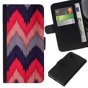 KLONGSHOP // Tirón de la caja Cartera de cuero con ranuras para tarjetas - Acolchado de ganchillo Tela Diseño - LG Nexus 5 D820 D821 //