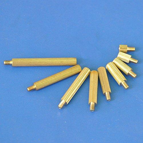 Electronics-Salon 100pcs 40mm Threaded Metric M2 Brass Male-Female Standoff, Spacer.