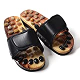 Foot Massage Slippers,with Natural Pebble Foot Care Promote Blood Circulation and Improve Metabolism for Home Use HMYH,Black,42