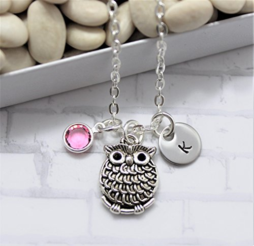 Owl Necklace for Women & Kids - Owl Jewelry for Girls - Owl Lover Gift - Personalized Birthstone & Initial - Fast Shipping -