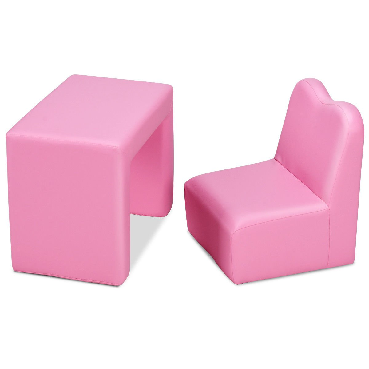 Pink Multi Functional Kids PVC Leather Sofa Table Chair Set Folded Armchair