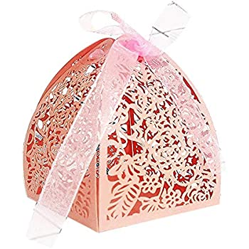 YOZATIA 50pcs Laser Cut Rose Gift Boxes with 50 Ribbons, 2.6x2.6x2.8 Favor Boxes for 16 Birthday Party Wedding Favor (Pink)
