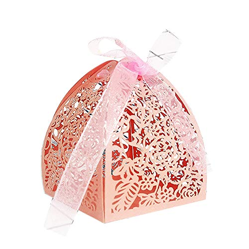 (YOZATIA 50pcs Laser Cut Rose Gift Boxes with 50 Ribbons, 2.6''x2.6''x2.8'' Favor Boxes for 16 Birthday Party Wedding Favor (Pink))