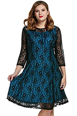 Meaneor Women Plus Sizes Round Neck Long Sleeve Hollow Floral Lace Maxi Short Dress