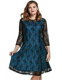 Meaneor Women Plus Size A-Line Knee Length Elegant Hollow Floral Lace Maxi Dress