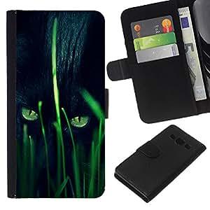All Phone Most Case / Oferta Especial Cáscara Funda de cuero Monedero Cubierta de proteccion Caso / Wallet Case for Samsung Galaxy A3 // Panther Hunting Grass Nature Eyes