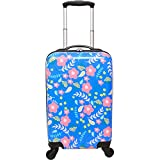 DH Girls Neon Blue Pink Paisley Flower Theme Carry On Luggage Hardtop Hardside Roller Wheel Set, Girly All Over Multi Flower Leaf Themed Suitcase Rolling Upright Spinner Wheels