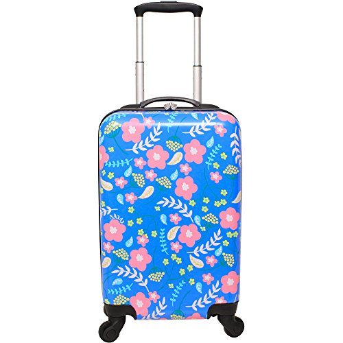 DH Girls Neon Blue Pink Paisley Flower Theme Carry On Luggage Hardtop Hardside Roller Wheel Set, Girly All Over Multi Flower Leaf Themed Suitcase Rolling Upright Spinner Wheels by DH