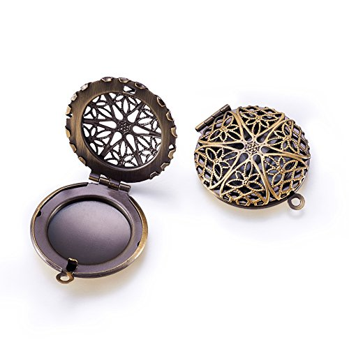 (Beadthoven 2pcs Romantic Photo Brass Diffuser Locket Pendants Aromatherapy Locket Necklace Charms Picture Frame Charms for NecklaceDIY Jewelry Making Antique Bronze Flat Round hole: 2mm)