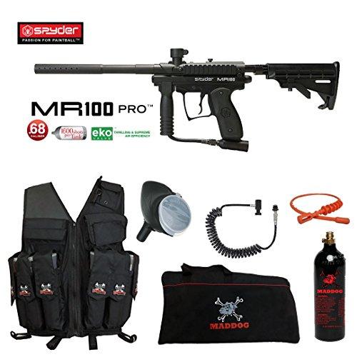 (MAddog Spyder MR100 Pro Lieutenant Attack Vest Paintball Gun Package - Black)
