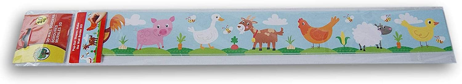 Teaching Tree Classroom Decor 3D Farm Creatures Wall Borders - Set of 10