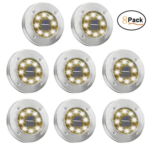OTYTY Solar Ground Lights, Garden Pathway Outdoor In-Ground Lights with 8 LED (8 Pack Warm White)